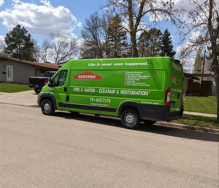 Van in front of a client house